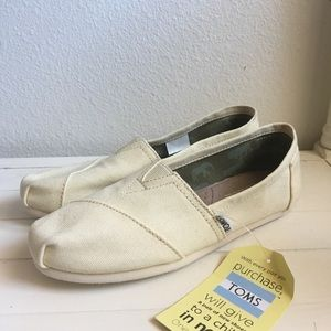 TOMS Natural Canvas Cream Slip On Shoes